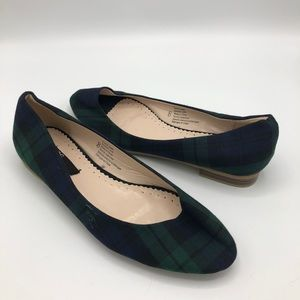 BDG Urban Outfitters Plaid Flats NWOT 8 Green Blue